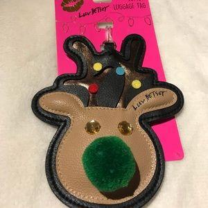 🎀Luv Betsey Reindeer jumbo Luggage Tag NEW